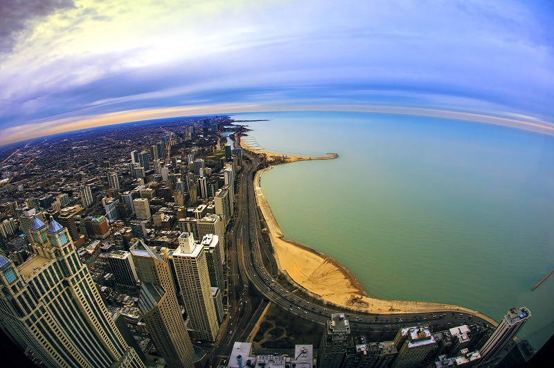 Chicago cityscape and the shore of Lake Michigan