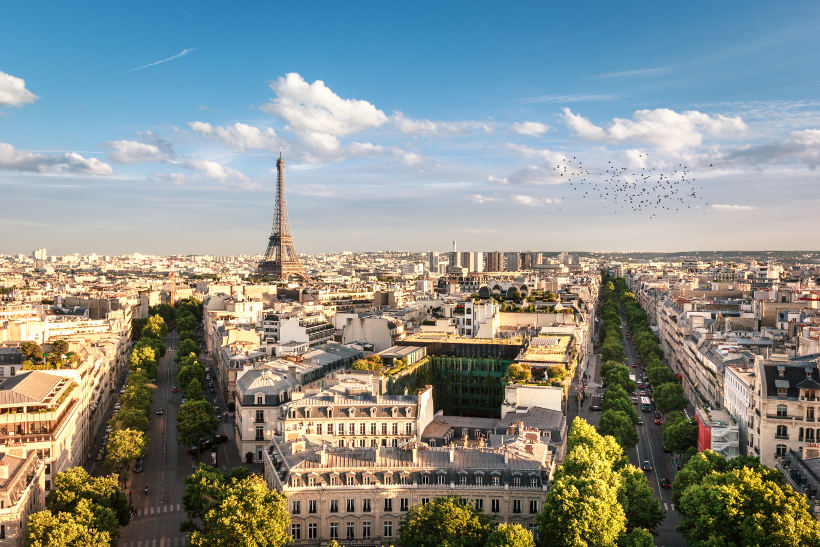 Travel Associates view of paris from top of arc de triomph in spring