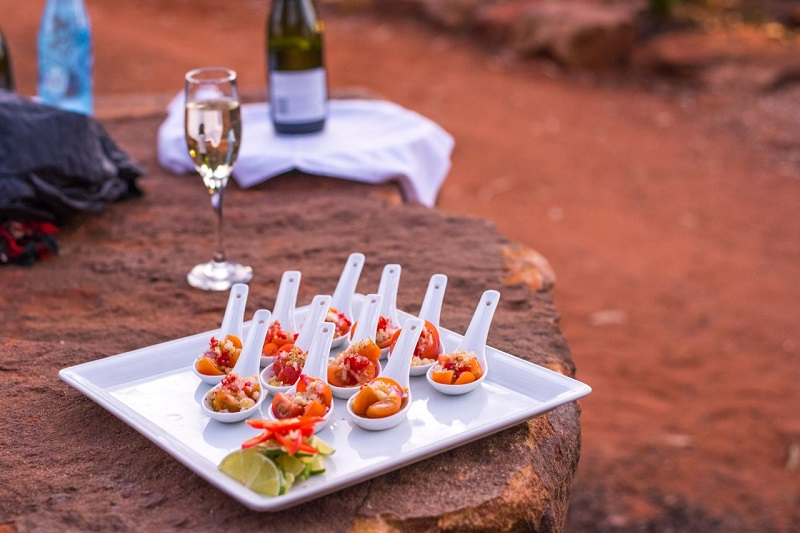 Canapes and champagne at Under a Desert Moon